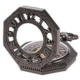 SIBOSUN 八角形 カバー 懐中時計 手巻き 機械式 男性 アンティーク チェーン ブラック 黒 スケルトン