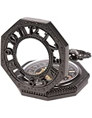 SIBOSUN 八角形 カバー 懐中時計 手巻き 機械式 男性 アンティーク チェーン ブロンズ スケルトン
