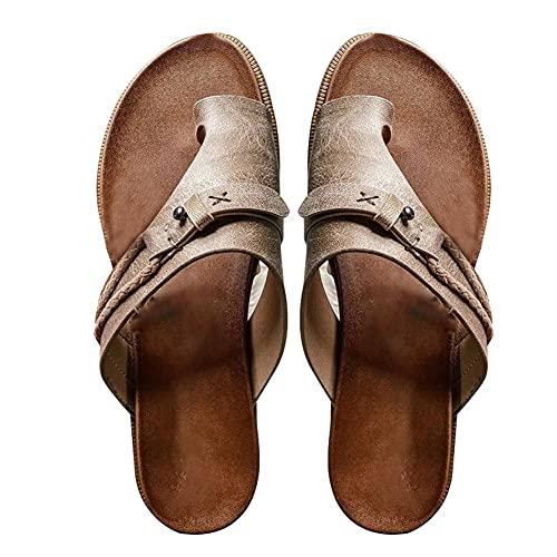 Sandalen voor dames, Slip-on slippers, Orthopedische teenring-slippers Slippers voor dames, Comfort Corrector platte schoenen, Open teen zomerschoenen (39,gray)