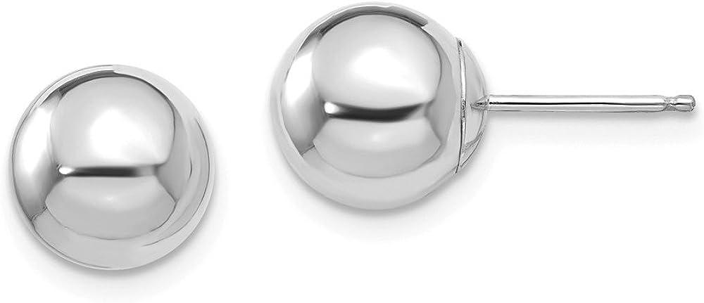 14k White Gold 8mm Ball Post Studs Earrings 8mm