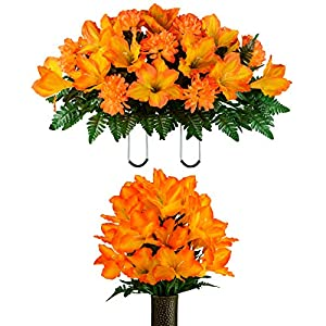 Sympathy Silks-Artificial Bouquet for Cemetery- Lasting Colors- 1 Sunset Orange Amaryllis Bouquet and Matching Saddle