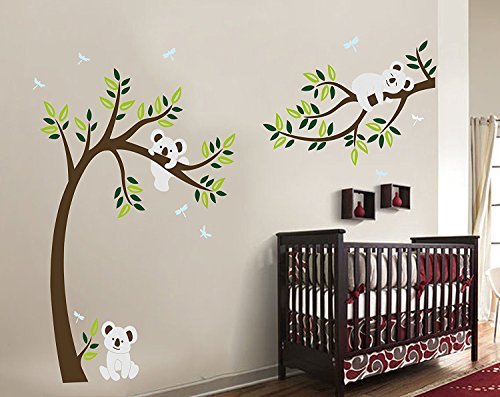 MAFENT Three cute koalas play around the tree wall sticker removable vinyl wall decal for nursery room decoration (Small)
