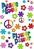 Pegatinas Juego de Flower Power I Coche 262I Peace and Love I Arco tamaño DIN A4I Pegatinas para Bicicleta Ordenador portátil Funda de Auto Adhesivo Resistente a la Intemperie