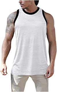 POQOQ Top Vest Blouse Men's Summer Casual Sport Patchwork Sleeveless Sport T-Shirt