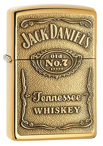 Zippo 254BJD428 Jack Daniel#039s Tennessee Whiskey Emblem Pocket Lighter High Polish Brass 5 1/2 x 3 1/2 cm
