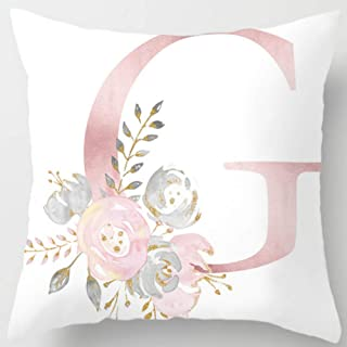 Eanpet Throw Pillow Covers Alphabet Decorative Pillow Cases ABC Letter Flowers Cushion Covers 18 x 18 Inch Square Pillow Protectors for Sofa Couch Bedroom Car Chair Home Decor (G)