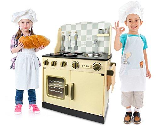 Leomark Vintage Gold Kinderküche aus Holz - Goldfarben -Kinderspielzeug, Küche für kinder, Küchenzubehör, Qualität, ab drei Jahren, Maße: 30/57/75 (Höhe) cm, Holzküche mit Backofen, Pfanne, Kochtopf, Küchenhelfern und Waschbecken