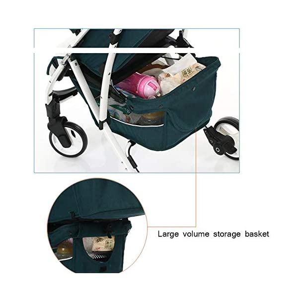 JXCC Baby Stroller Can Sit Reclining Simple Mini Aluminum alloy Stroller Folding Four Seasons Portable Shock absorber Super Child Baby Stroller from 0-36 months -Safe And Stylish Green JXCC 1. Can sit and recline, adjust the angle of 0-180 degrees, suitable for various situations 2. One-button removal, easy to clean, 5 parts can be removed 3. Two-wheel parallel connection, stable shock absorption, front wheel double suspension, single wheel double brake. 7