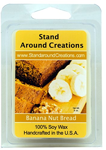 100% All Natural Soy Wax Melt Tart - Banana Nut Bread: The mouth-watering aroma of oven fresh banana bread. This delicious combination of walnuts, ripe banana, vanilla, and a touch of spice is sure to spark your appetite. - 3oz - Naturally Strong Scented
