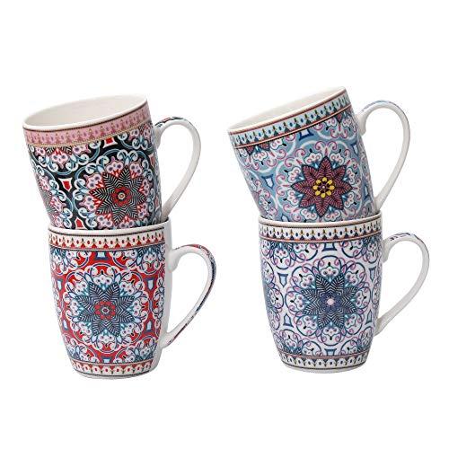 Boho Kaffeetasse 4-er Set - Große Kaffee-Becher 300-ml - orientalisches Design - hochwertige marokkanische Tee-Tassen mit feinem Druck - Spülmaschinenfeste Keramik - Geschenk Frauen Mutter (Design 6)