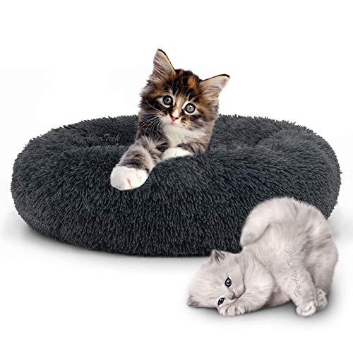 HyAdierTech Cama Gato Cama Perro Extra Suave Cómodo Lindo, Cojín de Gato Lavable de la Cama, Cómodo Suave y Cálida Cama para Mascotas Gatos y Perros Pequeños, 50cm, Gris Oscuro