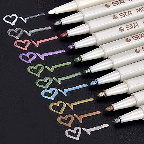 Rotuladores metálicos premium, DealKits Set de 10 lápices de colores surtidos para manualidades Scrapbooking, álbum de fotos DIY, pintura de arte, fabricación de tarjetas - Punta fina