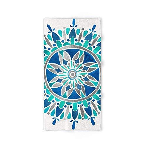 Donola Mandala – Toalla de baño de Plata y Azul 91,44 cm x 132,88 cm