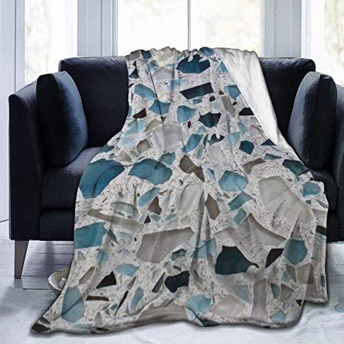 256 Couverture polaire pour canapé – Comptoir en verre – Marbre – Doux, moelleux, Sherpa, confortable – Idéal pour lit, canapé 127 x 101,6 cm