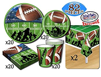 Deluxe Football Theme Party Supplies Set for 20 People Includes 20 Large Plates 20 Small Plates 20 Napkins 20 Cups & 2 Table Covers - Perfect for Gameday or Birthday  82 Pieces Total