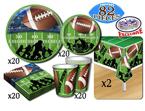 Deluxe Football Theme Party Supplies Set for 20 People, Includes 20 Large Plates, 20 Small Plates, 20 Napkins, 20 Cups & 2 Table Covers - Perfect for Gameday or Birthday (82 Pieces Total)