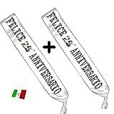 Mr. Gadgets 2 Fasce Anniversario 25 Anni di Matrimonio - Fascia in Raso Bianca per Festa Made in Italy