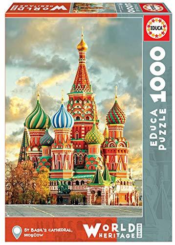 Educa Borras - Serie World Heritage, Puzzle 1.000 piezas, Catedral de San Basilio, Moscú (17998)