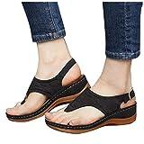Sandals for Women Dressy, Casual Bowknot Toe Ring Platform Sandal Shoes Summer Beach Travel Shoes Sandal Ladies Flip Flops