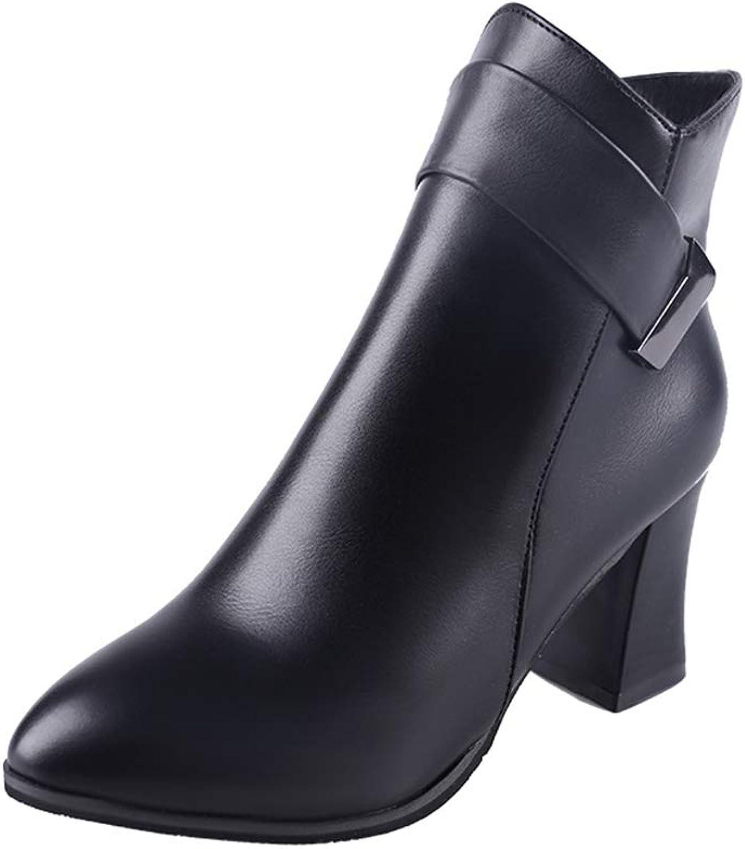 YUBUKE Women's Comfortable Closed Toe shoes high Heel Walking Boot