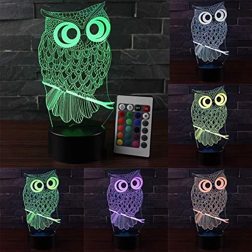 Luz nocturna de búho para niños, luz de ilusión óptica 3D, lámpara de noche que cambia de color con mando a distancia, regalo de cumpleaños para niños y adultos (base negra)