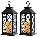 Bright Zeal 2-Pack 14' Decorative Candle Lantern Black Outdoor Lanterns With Timer Candles - Lanterns Battery Powered Led Decorative For Wedding - Decorative Hanging Lantern For Patio Tabletop Lantern