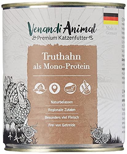 Venandi Animal - Pienso Premium para Gatos - Pavo como monoproteína - Completamente Libre de Cereales - 6 x 800 g