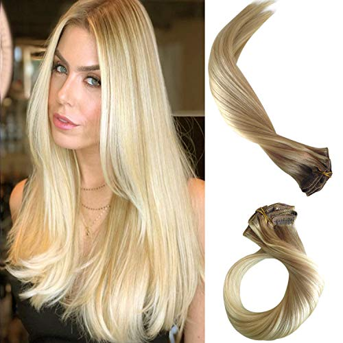 Clip in Haarverlängerung Remy Menschenhaar 8A Brasilianisches Haar 120g 100% Menschenhaar #(12T613) P613 Blonde Ombre Balayage Extension Clip in Extensions 20Zoll/50cm