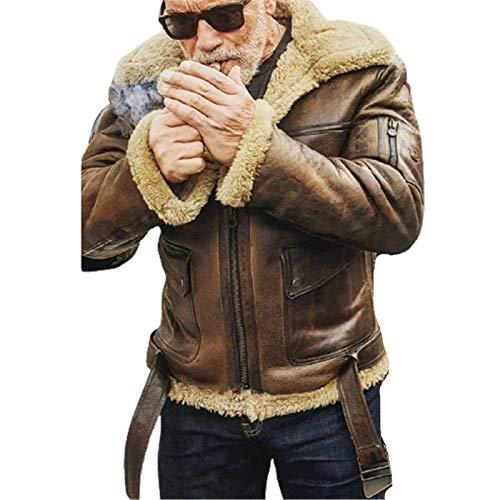 Chaqueta Piel Oveja Piloto Aviador Fuerza Aérea Abrigo Solapa Chaquetas Cuero Invierno para Hombre Abrigo Manga Larga Más Abrigo Terciopelo Prendas Vestir,Marrón,XL