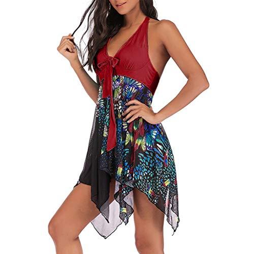 Tankini für Mollige Badekleid Bauchweg Zweiteiliger Badeanzug Damen Vintage Blumen Bikini-Set,Kanpola Neckholder Bademode Push Up Padded Elegant Strandmode