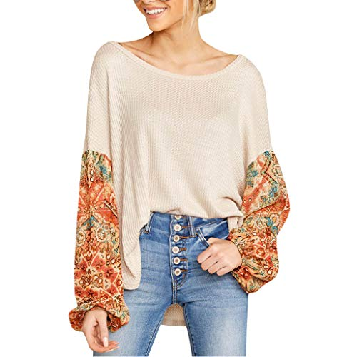Buy Discount Lovor Women's Boho Tops Printed Patchwork Lantern Sleeve Boat Crewneck Loose Casual Blo...