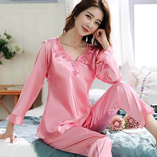 QWKLNRA Conjunto Pijama Seda Mujer,Traje De Pijama De Seda para Mujer con Estampado De Color Rosa Claro, Ropa De Casa De Manga Larga, Ropa Casual/Adecuado para Primavera, Verano, Otoño/Se Puede USA