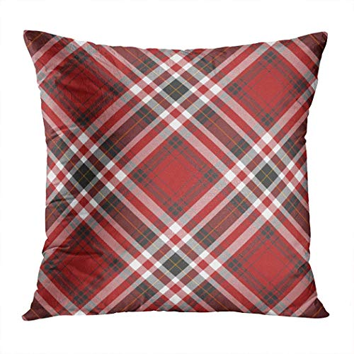 Pamela Hill Throw Pillow Decor Square 20 X 20 Inch Red Black Plaid White Super Soft Retro Classic Nostalgia Art Funda de cojín Decorativo