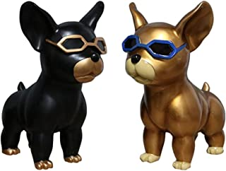 Sculpture Nordic Cute Resin Dog Ornaments Small Jewelry Creative Modern Minimalist Porch Living Room Home Decorations Sculpture Gift Crafts (Two Sets) (Color : BlackGold)