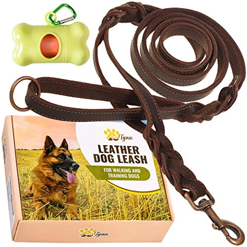Leather Dog Leash 6 ft x 3/4' - Double Handle Dog Leash - Traffic Handle for Extra Control - Soft and Strong Braided Leather Lead for Large and Medium Dogs (Double Handle 6 Foot x 3/4', Brown)