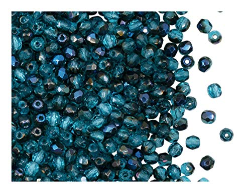 300 Preciosa Czech Glass Fire Polished Beads 6mm Blue Turquoise opaque
