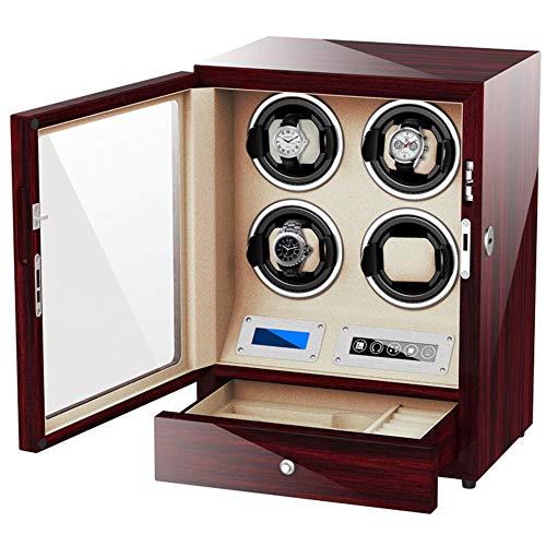 Qialpeg Automatischer Uhrenbeweger für 4 Uhren mit Stauraum, Schublade und LCD-Display, Touch-Bedienung, luxuriös, aus Holz, Wippe, perfekte Box, Rot