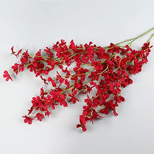 GXGX 6 unidades de flores de cerezo artificiales, flores de seda de imitación sakakakaker, arreglos florales falsos, tacto real, fácil de montar, color rojo
