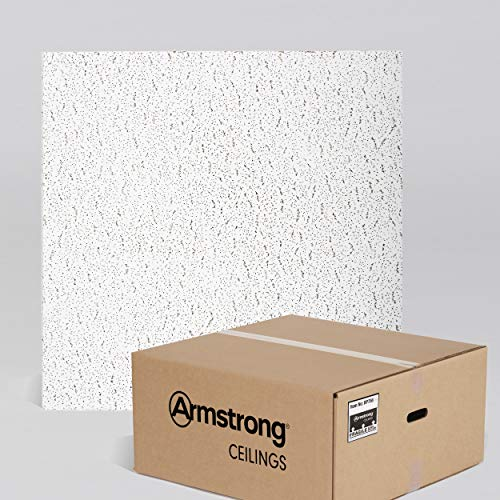 Armstrong Ceiling Tiles; 2x2 Ceiling Tiles - Acoustic Ceilings for Suspended Ceiling Grid; Drop Ceiling Tiles Direct from the Manufacturer; FISSURED Item 756 – 16 pcs White Lay-in