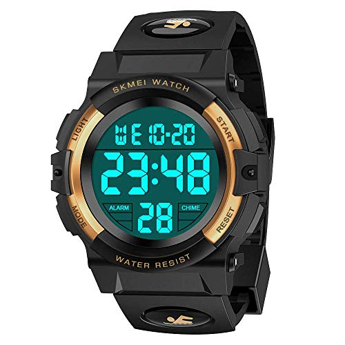 Easony 4-12 Years Old Boys Girls Gifts, Electronic Sports Watch for Boy Girls Kids Waterproof Watches Cool Toys for 3-12 Year Old Boys Beautiful Birthday Present Gifts Yellow