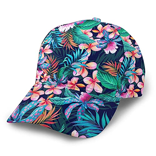 Hawaiian Floral Baseball Hats for Men Women, Elastic Fitted Caps with Curved Brim Sports Cap for Running Workouts and Outdoor Activities