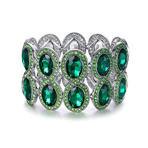 EVER FAITH Damen Armband Strass Kristall Art Deco Hochzeit Braut Elastisch Stretch Armreif Grün Silber-Ton