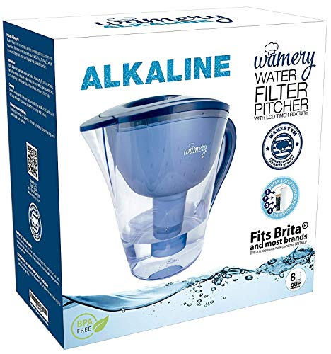 Wamery Alkaline Water Pitcher 2 LT 8 Cup 2019 Increase pH, FREE Water Filter Cartridge INCLUDED,...