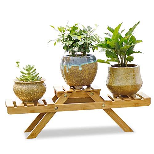 KELE Bay-Fenster Bambus Blumen Rack Office Desktop Mini Blumenregal aus Holz Indoor Fensterbank Das pflanzenregal Bonsai Anzeigen Pflanzenständer-A