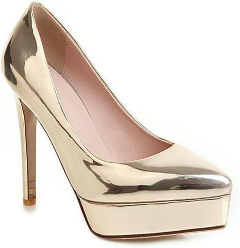 zapatos con Tacon Alto para mujer mujer Sandalias zapatos de tacón zapatos de tacón Altos para mujer Europeos y Americanos, zapatos de Boda Impermeables de Boca Baja Sandalias de mujer,oro,36