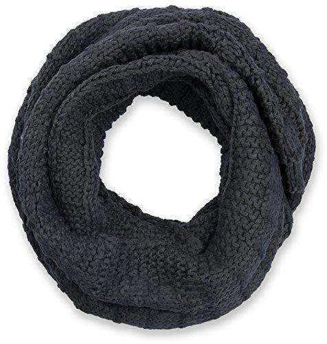 styleBREAKER sciarpa scaldacollo in maglia a quadri, sciarpa ad anello in maglia fine a tinta unita, sciarpa invernale in maglia, unisex 01018154, colore:Grigio scuro