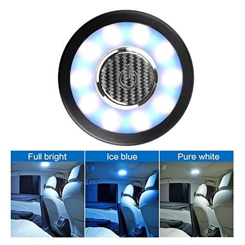 Teguangmei Luci per Tettuccio Auto LED Plafoniera Senza Fili USB Ricaricabile Lampada da Parete per Vano di Carico per Camion/Barca/Armadio Camera da Letto/Luce da Campeggio(Bianco-Blu Ghiaccio)
