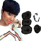 cheveux humains brésiliens vierges Cheveux courts Extensions Tissage 3 pcs Chaise longue transat Bresilienne 27 pièces + 1 gratuit Fermeture Couleur (4#)