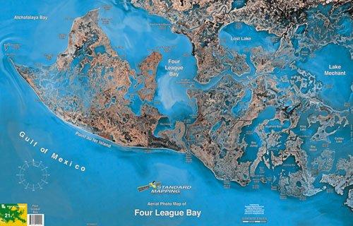 Standard Map M021 Laminated Four League Bay Fishing Map