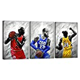 WeiYang Wall Art Canvas Painting 3 Pieces Black and White Kobe Bryant Michael Jordan and James Legends Fan Tribute Posters and Pictures Prints Artwork Home Decor for Living Room Framed - 48''Wx24''H